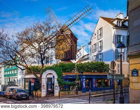 Paris, France, Fev 2020, `le Moulin De La Galette` A Restaurant Housed In An Old Mill In Lepic Stree