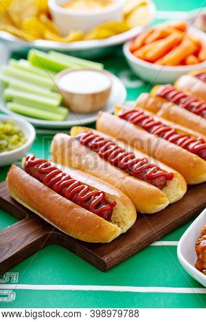 Game Day Food For Super Bowl, Hot Dogs And Other Snacks