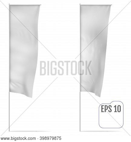 White Classical Banner Flag. Realistic Mockup Of Banner. Vector