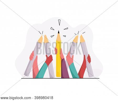 Vector Illustration Concept Thinking Differently, Creativity, Individuality, Discovery, Inspiration,