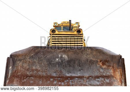 Front View Of Big Bucket Old Rusty Huge Heavy Bulldozer Loader Tread Or Wheel Tractor Isolted On Whi