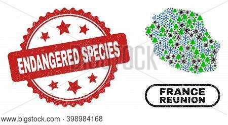 Vector Covid-2019 New Year Collage Reunion Island Map And Endangered Species Corroded Stamp. Endange