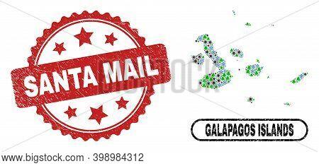 Vector Coronavirus Christmas Combination Galapagos Islands Map And Santa Mail Corroded Seal. Santa M