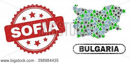Vector Covid-2019 Christmas Collage Bulgaria Map And Sofia Unclean Stamp Imitation. Sofia Stamp Seal