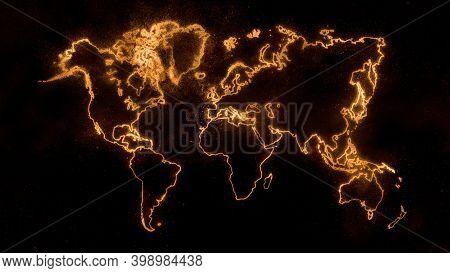 Colorful Worldmapon Dark Background, Orangeglowing World Map,space Background