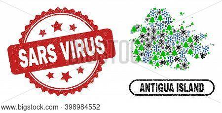 Vector Coronavirus New Year Mosaic Antigua Island Map And Sars Virus Corroded Stamp Seal. Sars Virus