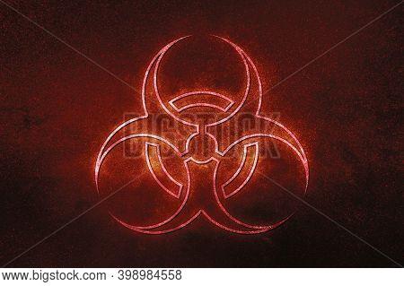 Biohazard Symbol, Biohazard Sign, Biological Hazard,red Symbol, Space Background