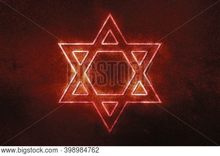 Jewish Star Of David Six Pointed Star,red Symbol, Space Background