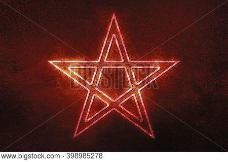 Pentagram Symbol, Five Pointed Star, Satanism,red Symbol, Space Background