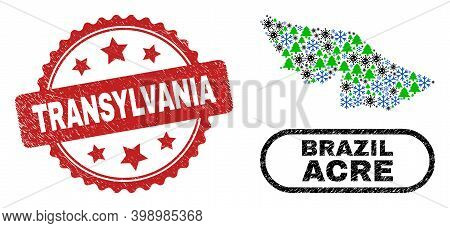 Vector Coronavirus Christmas Collage Acre State Map And Transylvania Rubber Stamp Imitation. Transyl