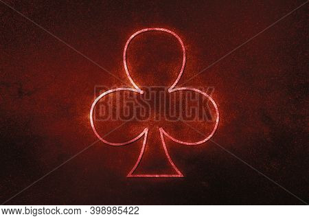 Club Card Symbol, Playing Cards Symbol, red Symbol, Space Background