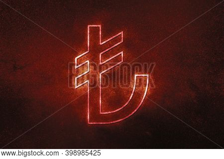Turkish Lira, Trylira Currency,monetary Currency Symbol,red Symbol, Space Background