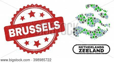 Vector Covid Winter Combination Zeeland Province Map And Brussels Unclean Stamp Seal. Brussels Seal
