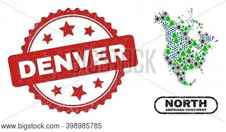 Vector Pandemic New Year Composition North America V2 Map And Denver Scratched Stamp. Denver Stamp S