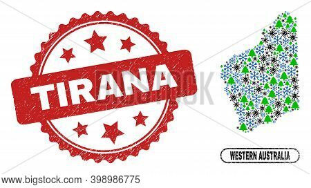Vector Pandemic New Year Composition Western Australia Map And Tirana Unclean Stamp Seal. Tirana Sta