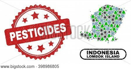 Vector Covid-2019 New Year Combination Lombok Island Map And Pesticides Corroded Watermark. Pesticid
