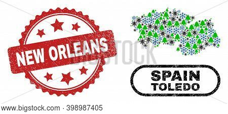 Vector Covid New Year Collage Toledo Province Map And New Orleans Rubber Watermark. New Orleans Stam
