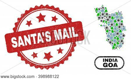 Vector Pandemic New Year Collage Goa State Map And Santa's Mail Rubber Stamp Print. Santa's Mail Sea