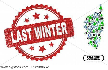 Vector Covid Winter Collage Corsica Map And Last Winter Dirty Stamp Seal. Last Winter Stamp Seal Use