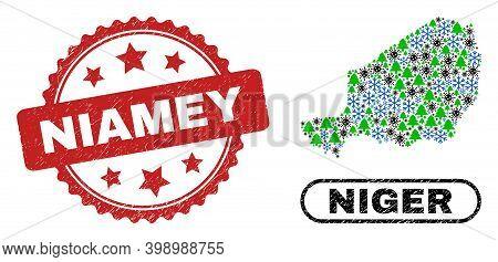 Vector Coronavirus Winter Composition Niger Map And Niamey Unclean Watermark. Niamey Watermark Uses