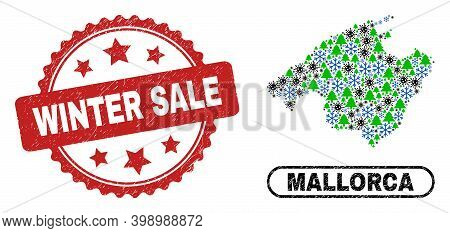 Vector Covid-2019 New Year Combination Mallorca Map And Winter Sale Dirty Stamp. Winter Sale Stamp S