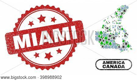 Vector Pandemic New Year Mosaic Canada V2 Map And Miami Unclean Stamp Print. Miami Watermark Uses Ro