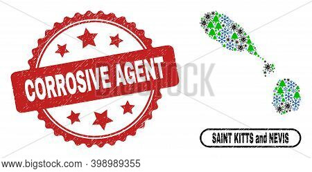 Vector Covid New Year Mosaic Saint Kitts And Nevis Map And Corrosive Agent Dirty Seal. Corrosive Age