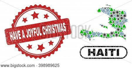 Vector Covid-2019 New Year Combination Haiti Map And Have A Joyful Christmas Corroded Stamp. Have A