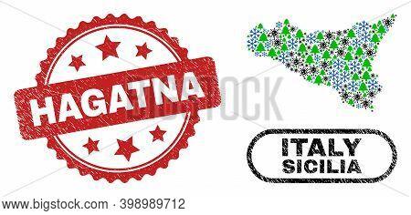 Vector Covid-2019 New Year Collage Sicilia Map And Hagatna Corroded Seal. Hagatna Watermark Uses Ros