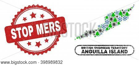 Vector Coronavirus Christmas Collage Anguilla Island Map And Stop Mers Dirty Stamp Imitation. Stop M
