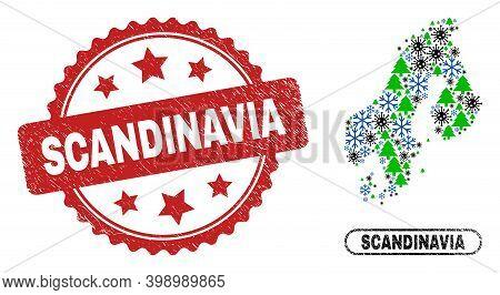 Vector Coronavirus New Year Collage Scandinavia Map And Scandinavia Textured Stamp Imitation. Scandi