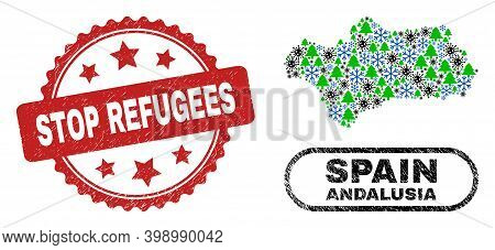 Vector Covid-2019 New Year Collage Andalusia Province Map And Stop Refugees Corroded Stamp Imitation