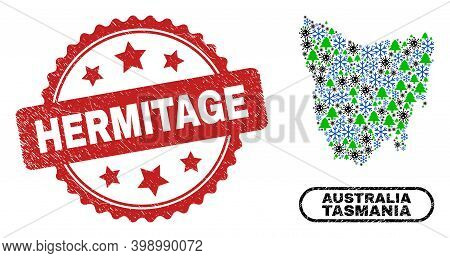 Vector Covid New Year Combination Tasmania Island Map And Hermitage Dirty Seal. Hermitage Watermark