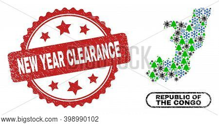 Vector Covid-2019 Winter Mosaic Republic Of The Congo Map And New Year Clearance Rubber Stamp Imitat