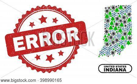 Vector Coronavirus New Year Mosaic Indiana State Map And Error Dirty Stamp Seal. Error Stamp Seal Us
