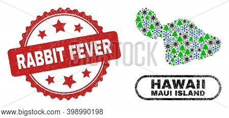 Vector Coronavirus Christmas Collage Maui Island Map And Rabbit Fever Rubber Stamp Seal. Rabbit Feve