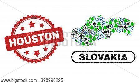 Vector Coronavirus Winter Composition Slovakia Map And Houston Rubber Stamp Print. Houston Stamp Sea