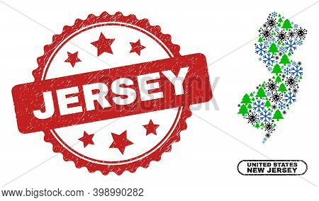 Vector Covid New Year Collage New Jersey State Map And Jersey Dirty Stamp Seal. Jersey Stamp Seal Us