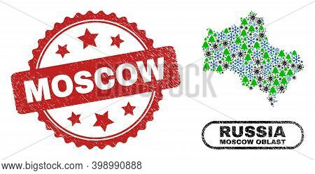 Vector Pandemic New Year Collage Moscow Region Map And Moscow Scratched Stamp. Moscow Stamp Seal Use