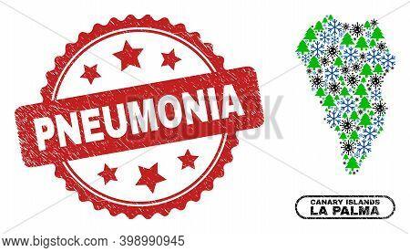 Vector Pandemic Winter Collage La Palma Island Map And Pneumonia Rubber Watermark. Pneumonia Stamp S