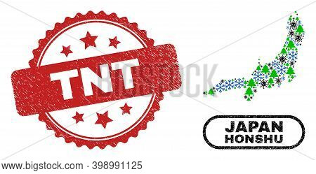 Vector Covid-2019 New Year Mosaic Honshu Island Map And Tnt Scratched Seal. Tnt Imprint Uses Rosette