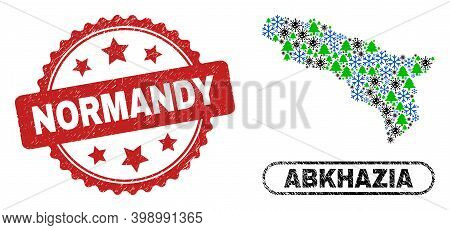 Vector Covid New Year Collage Abkhazia Map And Normandy Grunge Seal. Normandy Imprint Uses Rosette S