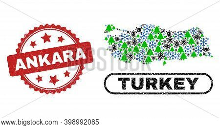 Vector Pandemic New Year Collage Turkey Map And Ankara Dirty Stamp Seal. Ankara Stamp Uses Rosette S