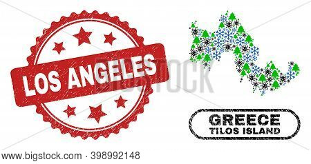 Vector Covid-2019 Winter Collage Tilos Island Map And Los Angeles Grunge Seal. Los Angeles Seal Uses