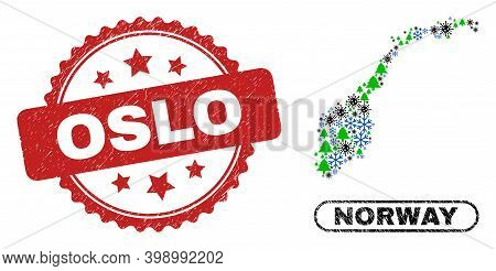 Vector Coronavirus New Year Collage Norway Map And Oslo Dirty Stamp Seal. Oslo Stamp Seal Uses Roset