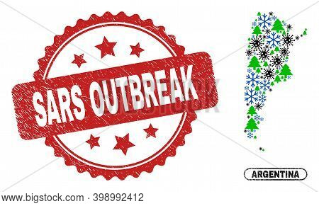 Vector Coronavirus New Year Collage Argentina Map And Sars Outbreak Corroded Stamp. Sars Outbreak Wa