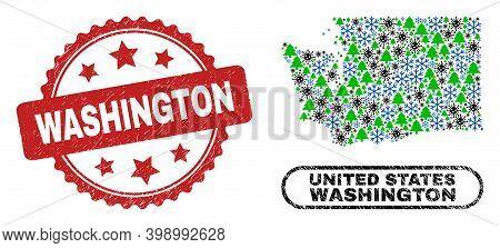 Vector Covid-2019 New Year Composition Washington State Map And Washington Grunge Stamp. Washington