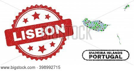 Vector Covid-2019 New Year Collage Madeira Islands Map And Lisbon Scratched Seal. Lisbon Stamp Seal