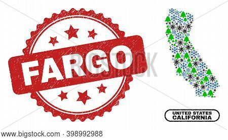 Vector Covid New Year Collage California State Map And Fargo Scratched Seal. Fargo Watermark Uses Ro