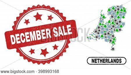 Vector Coronavirus Winter Collage Netherlands Map And December Sale Textured Stamp. December Sale St